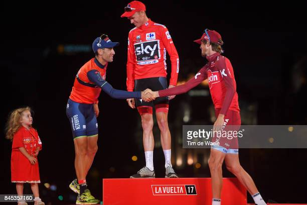 72nd Tour of Spain 2017 / Stage 21 Podium / Vincenzo NIBALI / Christopher FROOME Red Leader Jersey / Ilnur ZAKARIN / Celebration / Children /...