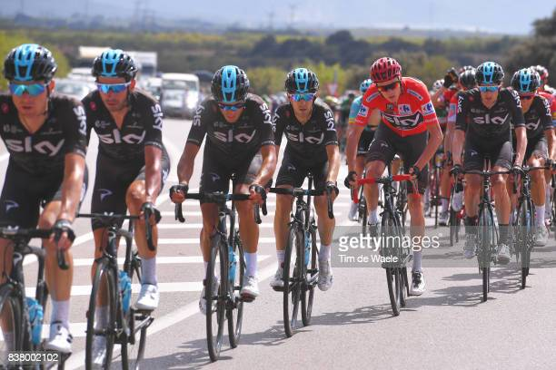 72nd Tour of Spain 2017 / Stage 5 Christopher FROOME Red Leader Jersey / Mikel NIEVE ITURALDE / Wout POELS / Team SKY / Benicassim Alcossebre 340m /...