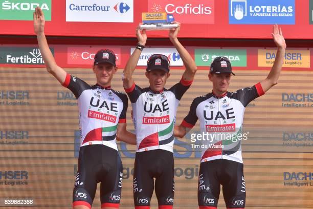 72nd Tour of Spain 2017 / Stage 9 Podium / Matej MOHORIC / Przemyslaw NIEMIEC / Jan POLANC / Team UAE Team Emirates Best Team Celebration / Orihuela...
