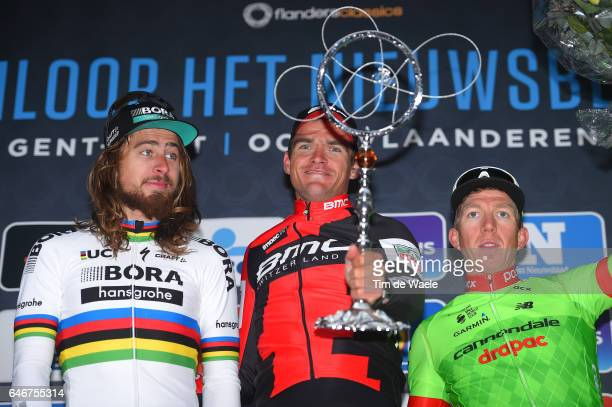 72th Omloop Het Nieuwsblad 2017 Podium / Peter SAGAN / Greg VAN AVERMAET / Sep VANMARCKE / Celebration / Gent Gent / Flanders Classics /