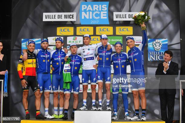 75th Paris Nice 2017 / Stage 8 Podium / Philippe GILBERT / Fabio SABATINI / Jack BAUER / Yves LAMPAERT / Julian ALAPHILIPPE White youth jersey /...