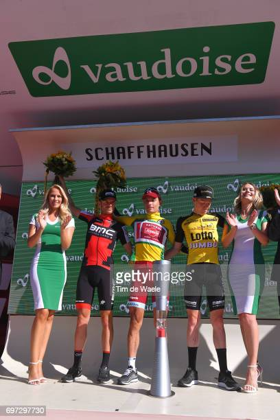 81st Tour of Switzerland 2017 / Stage 9 Podium / Damiano CARUSO / Simon SPILAK Yellow Leader Jersey/ Steven KRUIJSWIJK / Celebration / Trophy/...