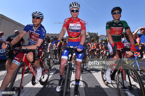 87th Tour of Belgium 2017 / Stage 5 Remi Cavagna Red leaders jersey / Tony MARTIN Blue jersey / Kenneth VAN BILSEN Green jersey/ Tienen Tongeren /...