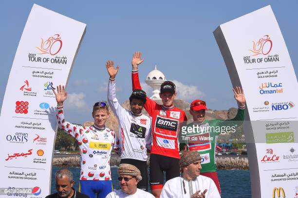 8th Tour of Oman 2017 / Stage 6 Podium / Aime DE GENDT Polka Dot Mountain Jersey/ Merhawi KUDUS White Young Jersey/ Ben HERMANS Red Leader Jersey/...