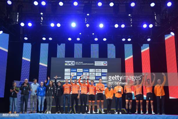 90th Road World Championships 2017 / Men Elite Road Race Podium / Team Netherlands Best Team / Lars BOOM / Koen DE KORT / Tom DUMOULIN / Sebastian...
