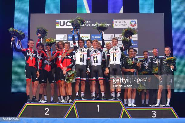 90th Road World Championships 2017 / TTT Men Elite Podium / Team BMC Racing / Rohan DENNIS / Silvan DILLIER / Stefan KUNG / Daniel OSS / Tejay VAN...