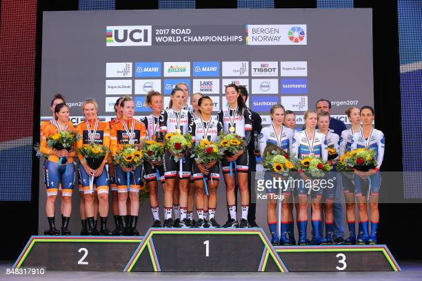 90th Road World Championships 2017 / TTT Women Elite Podium / Chantal BLAAK / KarolAnn CANUEL / Elizabeth DEIGNAN / Amalie DIDERIKSEN / Megan...