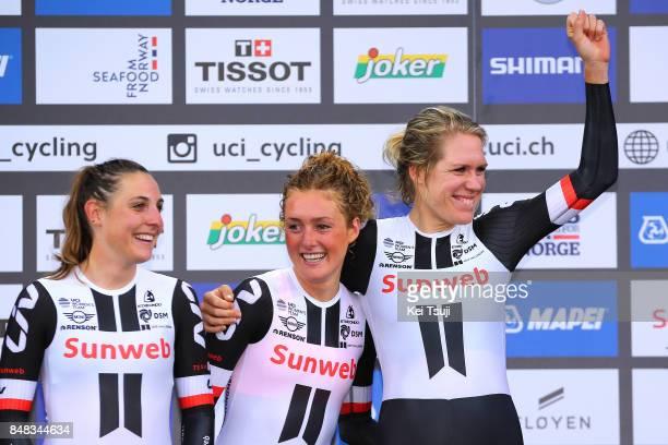 90th Road World Championships 2017 / TTT Women Elite Podium / Team Sunweb / Lucinda BRAND / Floortje MACKAIJ / Ellen VAN DIJK / Celebration /...