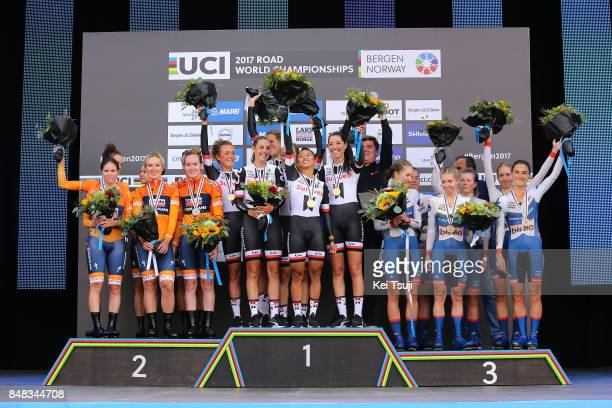90th Road World Championships 2017 / TTT Women Elite Podium / Team Boels Dolmans Cyclingteam / Chantal BLAAK / KarolAnn CANUEL / Elizabeth DEIGNAN /...