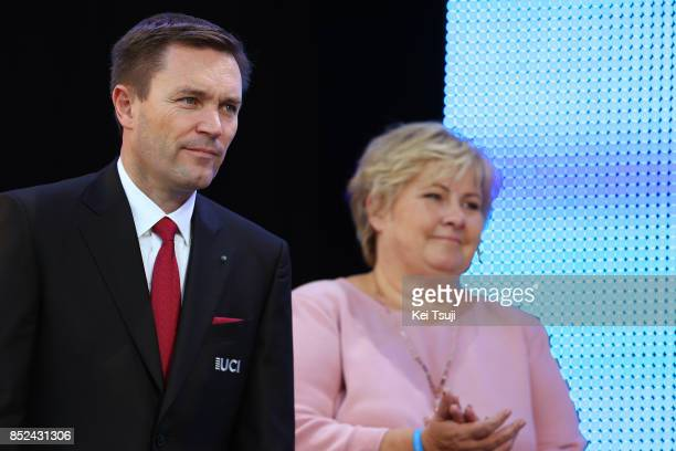 90th Road World Championships 2017 / Women Elite Road Race Podium / David LAPPARTIENT UCI President / Erna SOLBERG Prime Minister of Norway / Bergen...