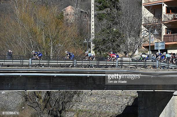 96th Volta a Catalunya/ Stage 4 Arrival / Sprint / Podium/ Celebration Joie Vreugde/ Illustration Illustratie / Landscape Paysage Landschap / Peleton...