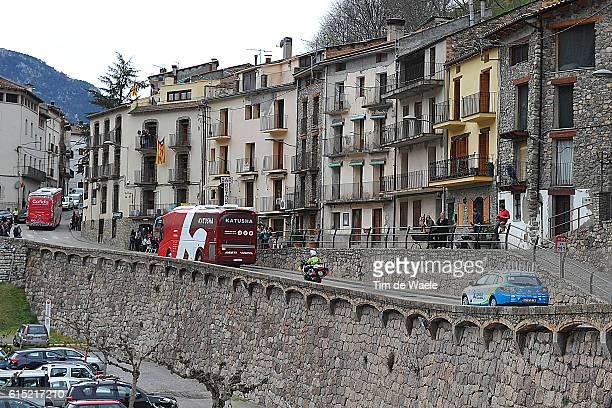 96th Volta Cataluya 2016/ Stage 5 Illustration Illustratie / Landscape Paysage Landschap / Katusha Bus/ City Village/ Rialp Valls / Tour of...