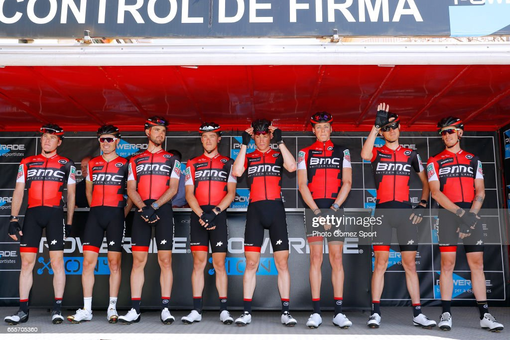 97th Volta Ciclista a Catalunya 2017 / Stage 1 Start / Podium / Samuel SANCHEZ GONZALEZ (ESP)/ Rohan DENNIS (AUS)/ Tejay VAN GARDEREN (USA)/ Ben HERMANS (BEL)/ Brent BOOKWALTER (USA)/ Joey ROSSKOPF (USA)/ Alessandro DE MARCHI (ITA)/ Kilian FRANKINY (SUI)/ Team BMC Racing Team (USA)/ Calella - Calella (178,9km)/ Tour of Catalunya /