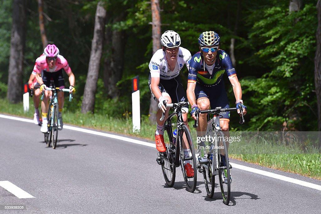 99th Tour of Italy 2016 / Stage 16 Alejandro VALVERDE (ESP)/ Bob JUNGELS (LUX) White Best Young Jersey / Steven KRUIJSWIJK (NED) Pink Leader Jersey / Bressanone-Brixen - Andalo 1024m (132km)/ / Giro /