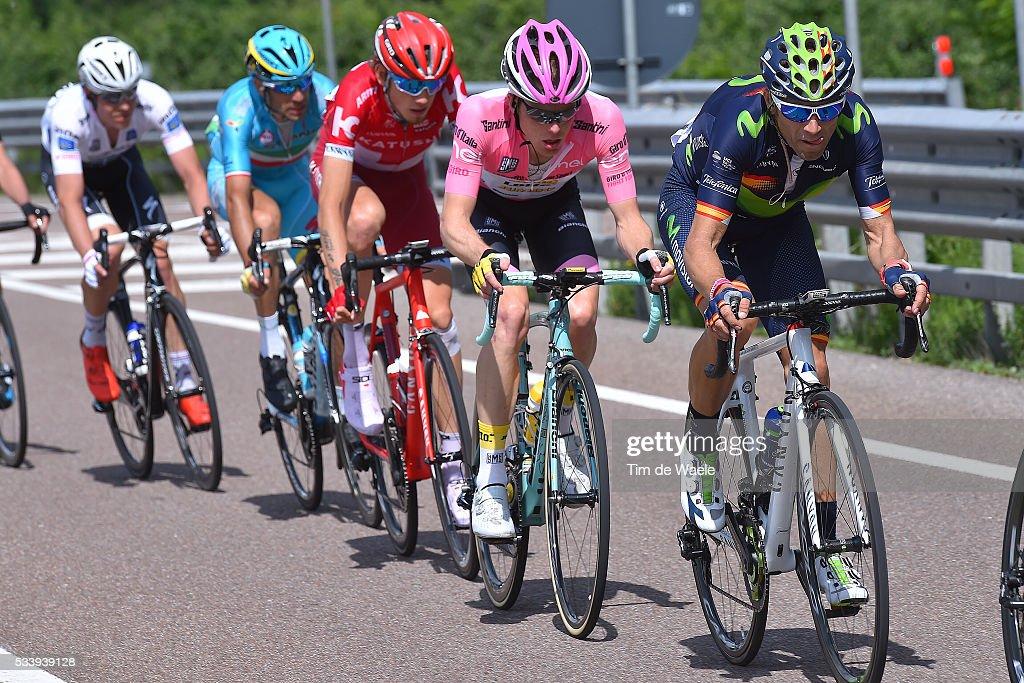 99th Tour of Italy 2016 / Stage 16 Alejandro VALVERDE (ESP)/ Steven KRUIJSWIJK (NED) Pink Leader Jersey / Ilnur ZAKARIN (RUS)/ Vincenzo NIBALI (ITA)/ Bob JUNGELS (LUX) White Best Young Jersey / Bressanone-Brixen - Andalo 1024m (132km)/ / Giro /