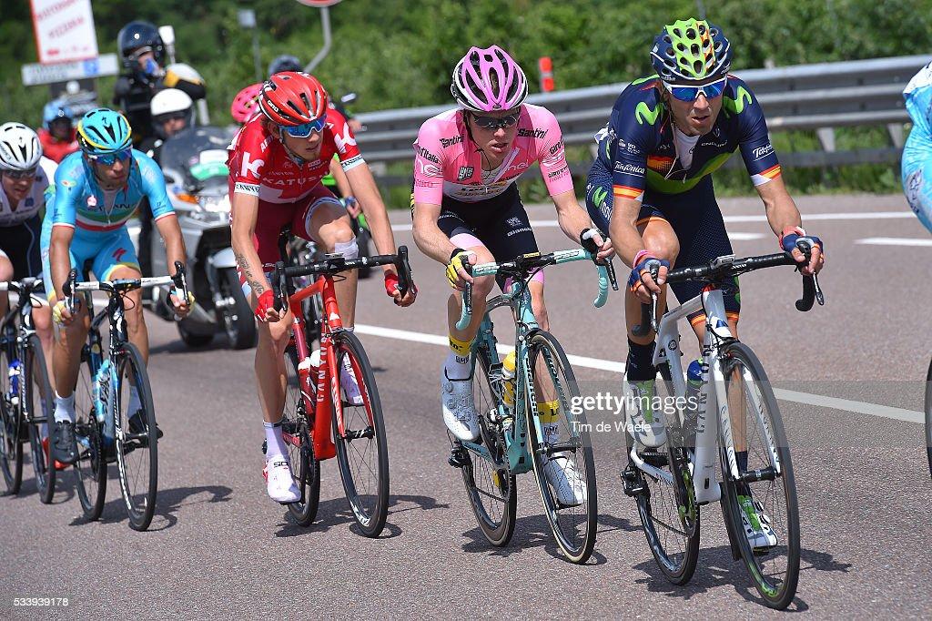 99th Tour of Italy 2016 / Stage 16 Alejandro VALVERDE (ESP)/ Steven KRUIJSWIJK (NED) Pink Leader Jersey / Ilnur ZAKARIN (RUS)/ Vincenzo NIBALI (ITA)/ Bressanone-Brixen - Andalo 1024m (132km)/ / Giro /
