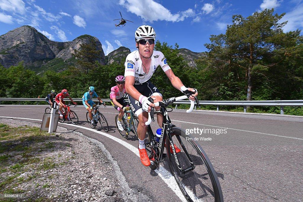 99th Tour of Italy 2016 / Stage 16 Bob JUNGELS (LUX) Best White Young Jersey / Steven KRUIJSWIJK (NED) Pink Leader Jersey / Vincenzo NIBALI (ITA)/ Ilnur ZAKARIN (RUS)/ Alejandro VALVERDE (ESP)/ Bressanone / Brixen - Andalo 1024m (132km)/ Giro /