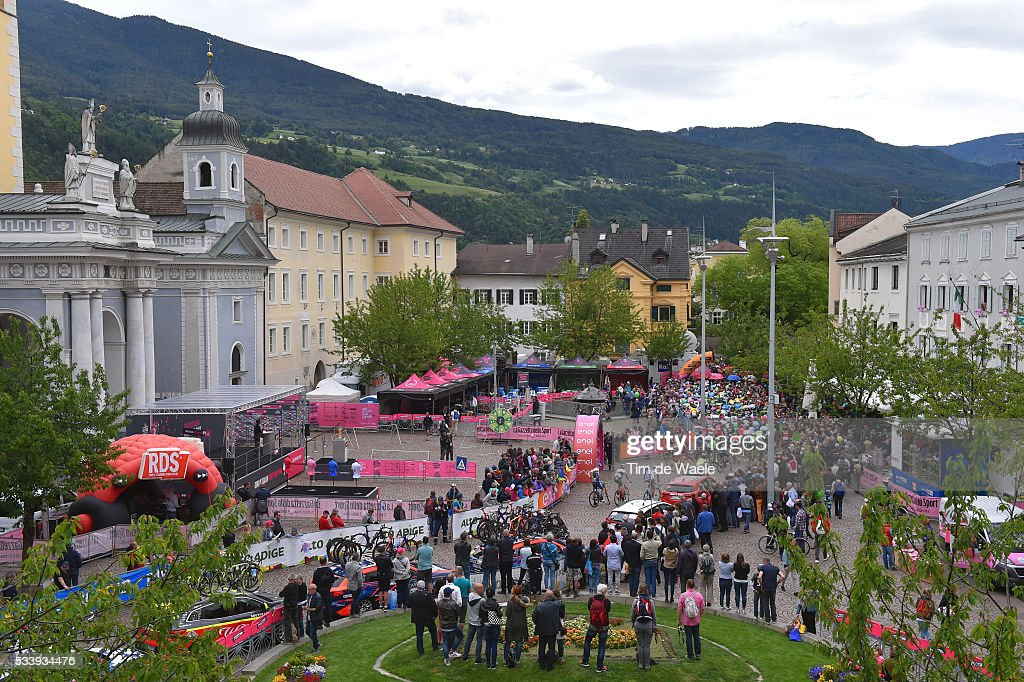 99th Tour of Italy 2016 / Stage 16 Illustration / Start / Peloton / Landscape / Bressanone City / Public / Fans / Church / Bressanone-Brixen - Andalo 1024m (132km)/ / Giro /