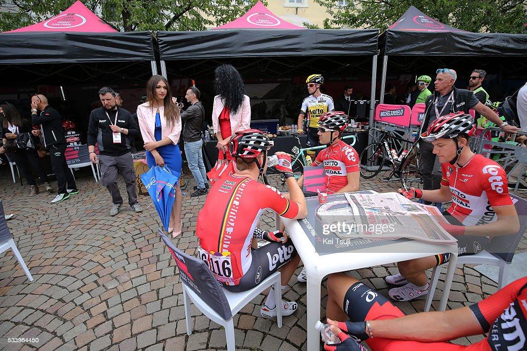 99th Tour of Italy 2016 / Stage 16 Illustration / Start Village / Tim WELLENS (BEL)/ Pim LIGTHART (NED)/ Maxime MONFORT (BEL)/ Bressanone / Brixen - Andalo 1024m (132km)/ Giro /