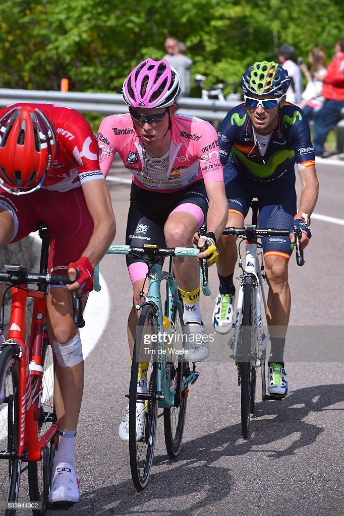 99th Tour of Italy 2016 / Stage 16 Ilnur ZAKARIN (RUS)/ Alejandro VALVERDE (ESP)/ Steven KRUIJSWIJK (NED) Pink Leader Jersey / Bressanone-Brixen - Andalo 1024m (132km)/ / Giro /