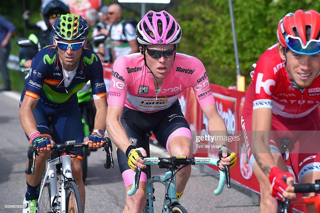 99th Tour of Italy 2016 / Stage 16 Ilnur ZAKARIN (RUS)/ Alejandro VALVERDE (ESP)/ Steven KRUIJSWIJK (NED) Pink Leader Jersey / Bressanone / Brixen - Andalo 1024m (132km)/ Giro /