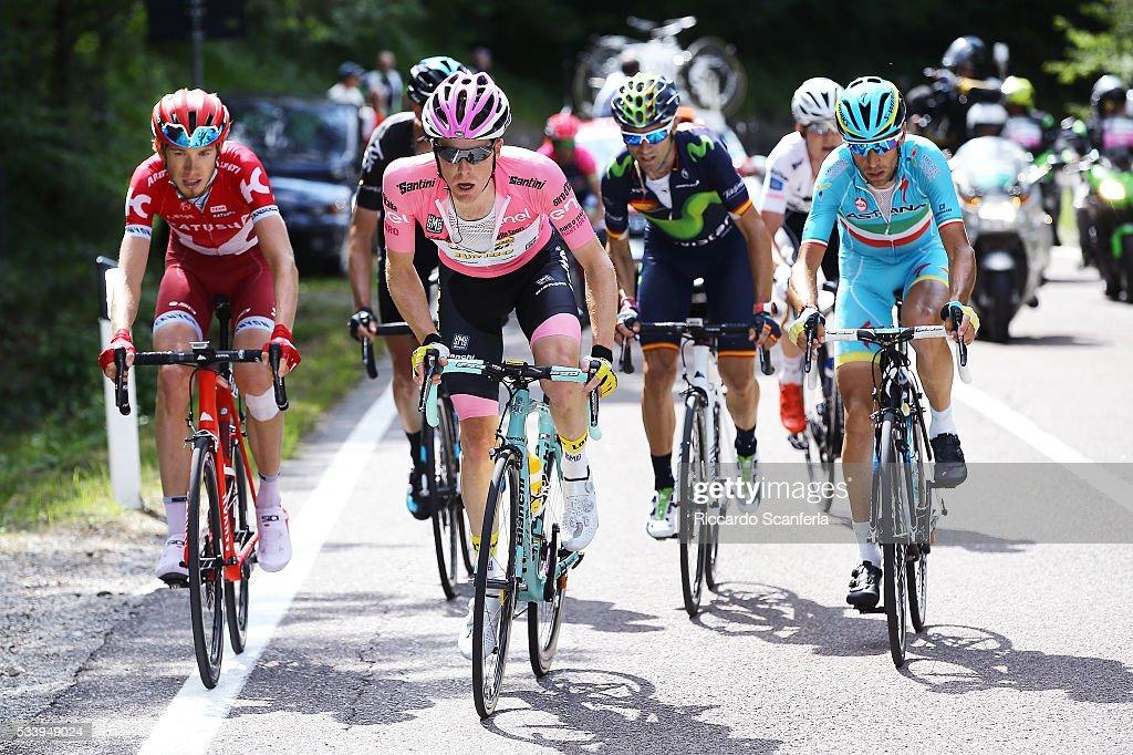 99th Tour of Italy 2016 / Stage 16 Ilnur ZAKARIN (RUS)/ Steven KRUIJSWIJK (NED) Pink Leader Jersey / Vincenzo NIBALI (ITA)/ Alejandro VALVERDE (ESP)/ Bressanone / Brixen - Andalo 1024m (132km)/ Giro /