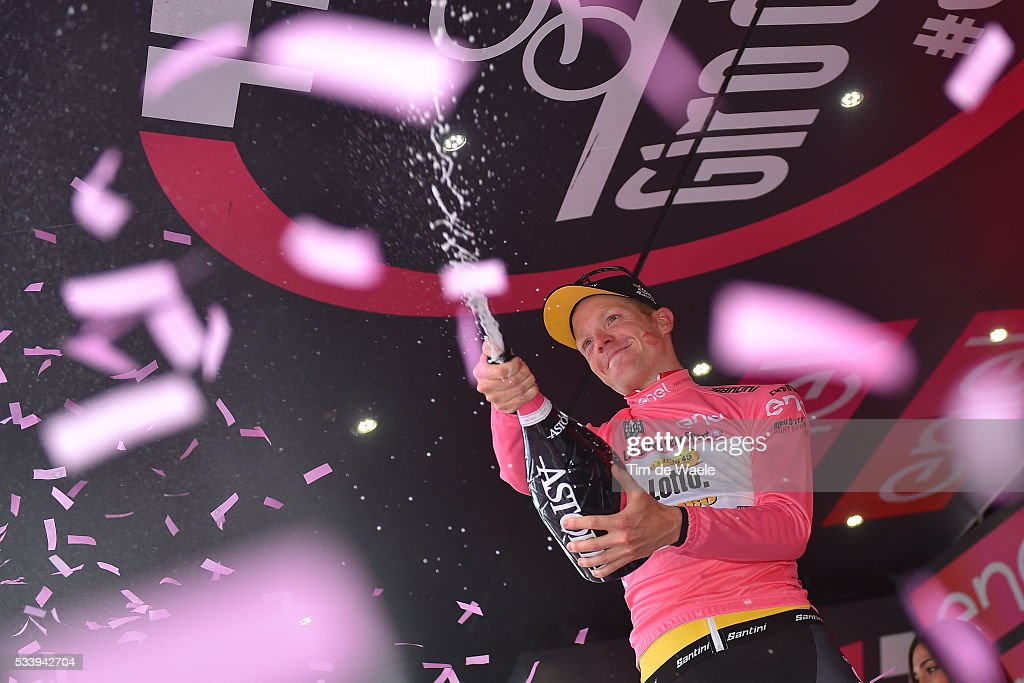 99th Tour of Italy 2016 / Stage 16 Podium / Steven KRUIJSWIJK (NED) Pink Leader Jersey /Celebration / Champagne / Bressanone-Brixen - Andalo 1024m (132km)/ / Giro /