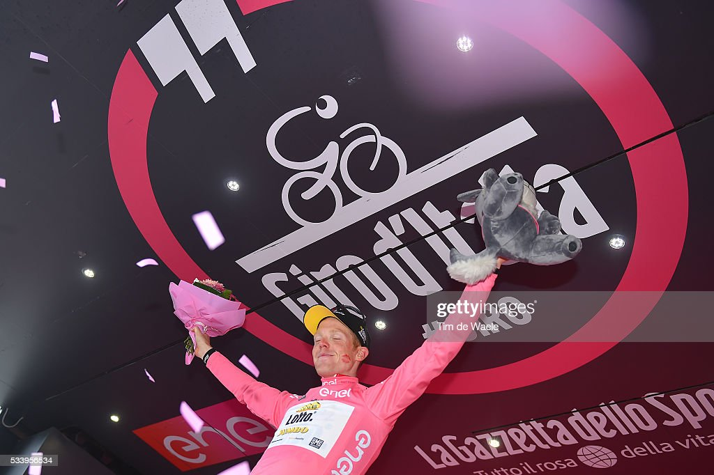 99th Tour of Italy 2016 / Stage 16 Podium / Steven KRUIJSWIJK (NED) Pink Leader Jersey / Celebration / Bressanone / Brixen - Andalo 1024m (132km)/ Giro /