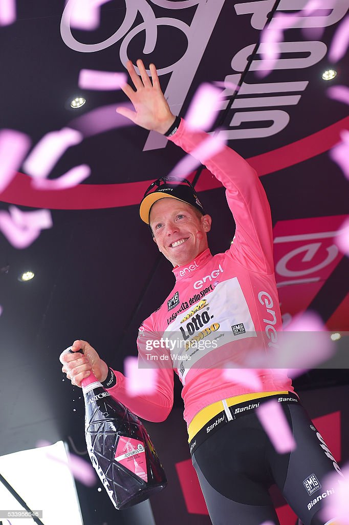 99th Tour of Italy 2016 / Stage 16 Podium / Steven KRUIJSWIJK (NED) Pink Leader Jersey / Celebration / Champagne / Bressanone / Brixen - Andalo 1024m (132km)/ Giro /