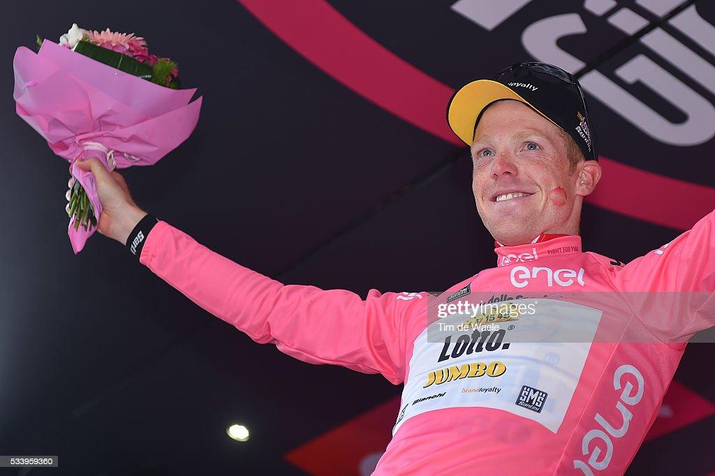 99th Tour of Italy 2016 / Stage 16 Podium / Steven KRUIJSWIJK (NED) Pink Leader Jersey / Celebration / Bressanone / Brixen - Andalo 1024m (132km)/ Giro /
