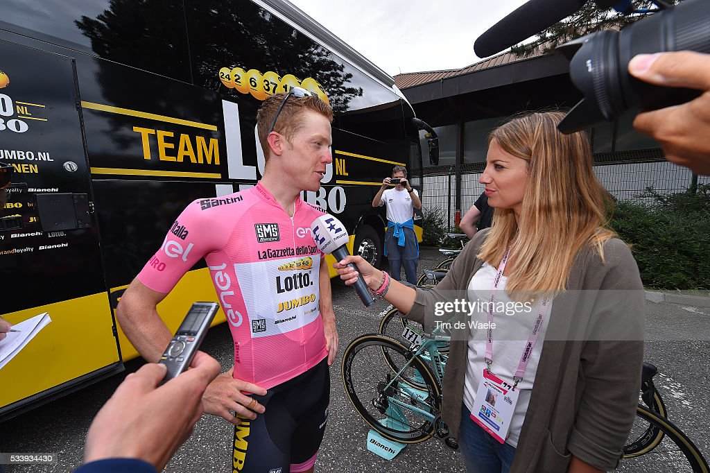 99th Tour of Italy 2016 / Stage 16 Start / Steven KRUIJSWIJK (NED) Pink Leader Jersey / press / interview / Bressanone-Brixen - Andalo 1024m (132km)/ / Giro /