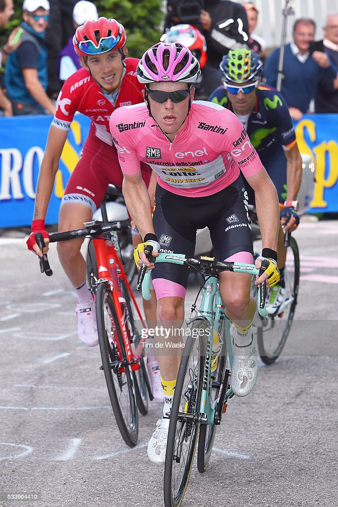 99th Tour of Italy 2016 / Stage 16 Steven KRUIJSWIJK (NED) Pink Leader Jersey / Ilnur ZAKARIN (RUS)/ Alejandro VALVERDE (ESP)/ Bressanone / Brixen - Andalo 1024m (132km)/ Giro /