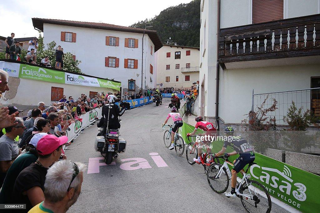 99th Tour of Italy 2016 / Stage 16 Steven KRUIJSWIJK (NED) Pink Leader Jersey / Ilnur ZAKARIN (RUS)/ Alejandro VALVERDE (ESP)/ Illustration / Fai Della Paganella (994m) Mountains / Landscape / Bressanone / Brixen - Andalo 1024m (132km)/ Giro /