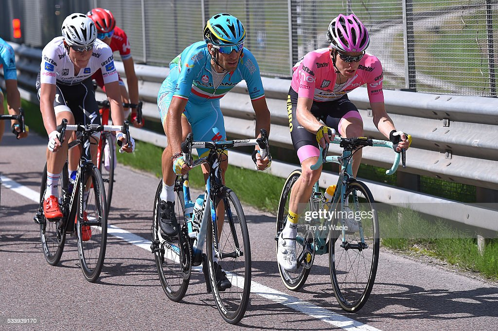 99th Tour of Italy 2016 / Stage 16 Vincenzo NIBALI (ITA)/ Bob JUNGELS (LUX) White Best Young Jersey / Steven KRUIJSWIJK (NED) Pink Leader Jersey / Bressanone-Brixen - Andalo 1024m (132km)/ / Giro /