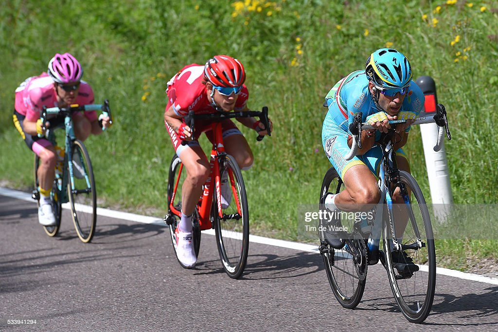 99th Tour of Italy 2016 / Stage 16 Vincenzo NIBALI (ITA)/ Ilnur ZAKARIN (RUS)/ Steven KRUIJSWIJK (NED) Pink Leader Jersey / Bressanone-Brixen - Andalo 1024m (132km)/ / Giro /