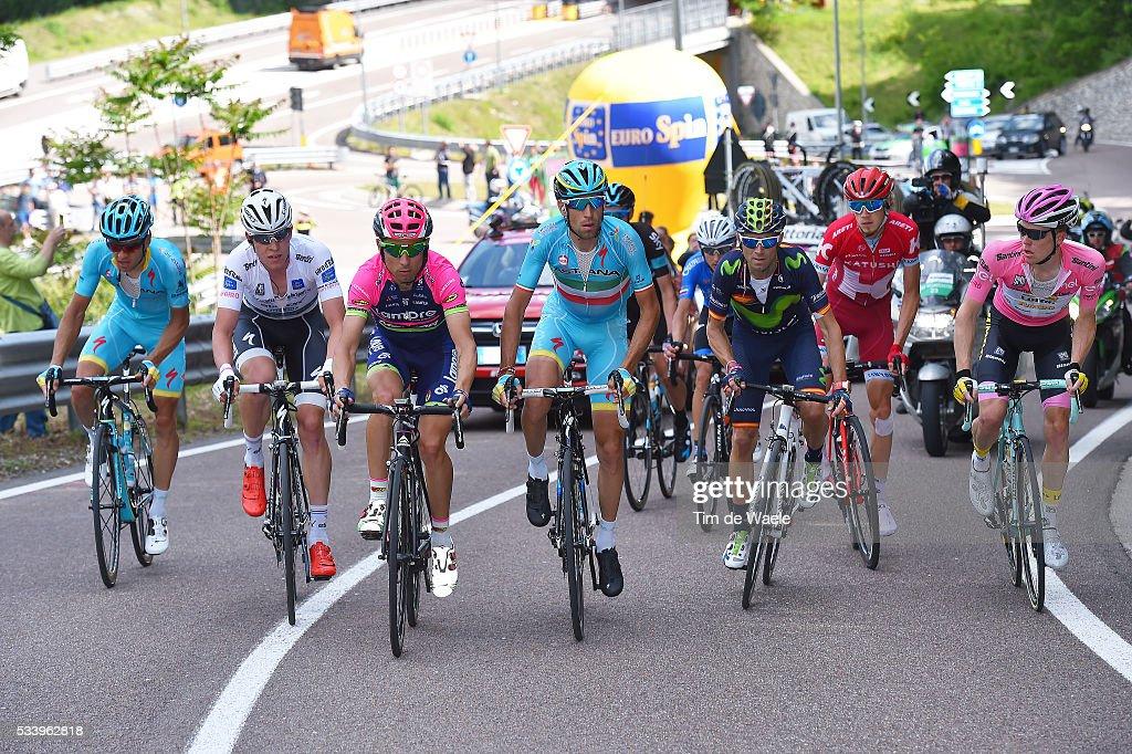 99th Tour of Italy 2016 / Stage 16 Vincenzo NIBALI (ITA)/ Steven KRUIJSWIJK (NED) Pink Leader Jersey / Diego ULISSI (ITA)/ Bob JUNGELS (LUX) Best White Young Jersey / Alejandro VALVERDE (ESP)/ Bressanone / Brixen - Andalo 1024m (132km)/ Giro /
