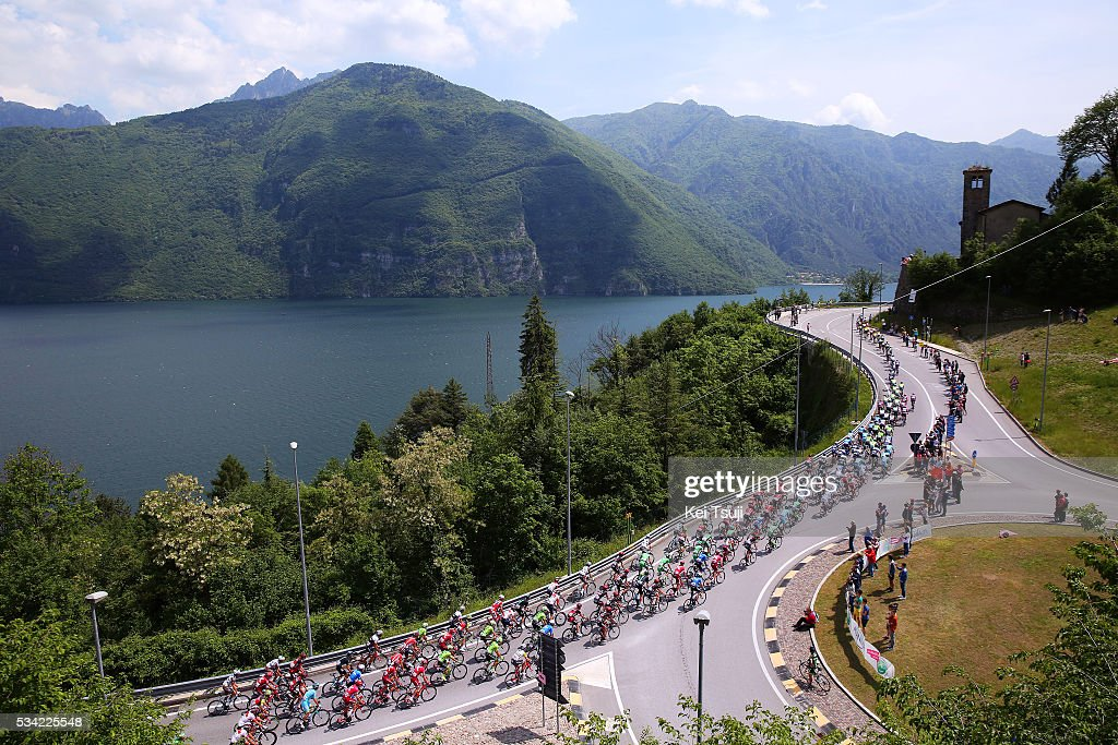 99th Tour of Italy 2016 / Stage 17 Illustration / Peloton / PONTE CAFFARO / Lake / Mountains / Landscape / Molveno - Cassano D'Adda (196km)/ Giro /