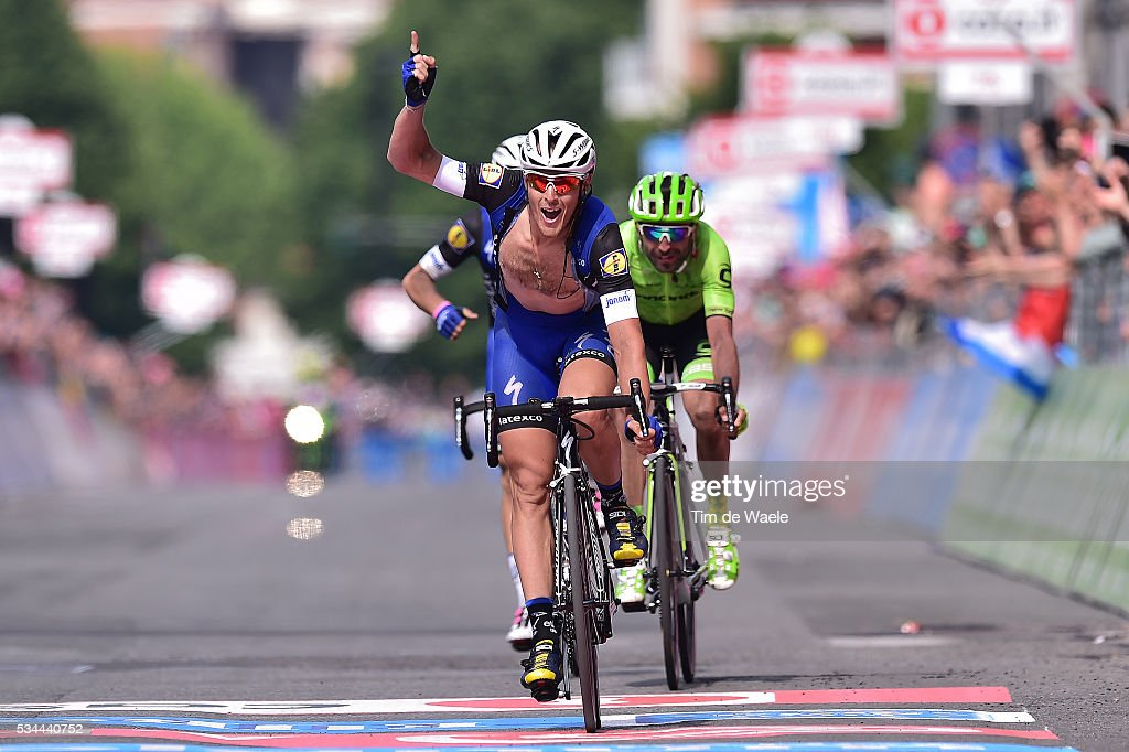 99th Tour of Italy 2016 / Stage 18 Arrival / Matteo TRENTIN (ITA) Celebration / Moreno MOSER (ITA)/ Gianluca BRAMBILLA (ITA)/ Muggio - Pinerolo (240km)/ Giro /