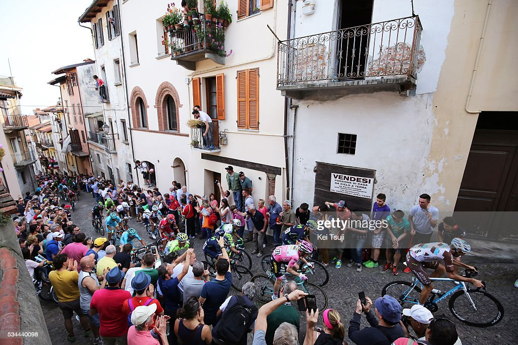 99th Tour of Italy 2016 / Stage 18 Giovanni VISCONTI (ITA)/ Matteo MONTAGUTI (ITA)/ Steven KRUIJSWIJK (NED) Pink Leader Jersey / Alejandro VALVERDE (ESP)/ Rafal MAJKA (POL)/ Vincenzo NIBALI (ITA)/ Domenico POZZOVIVO (ITA)/ Ilnur ZAKARIN (RUS)/ Bob JUNGELS (LUX) Best White Young Jersey / Illustration / PINEROLO City / Public / Fans / Muggio - Pinerolo (240Km)/ Giro /
