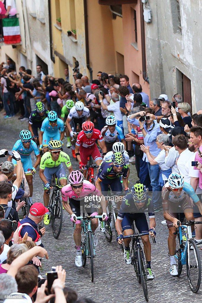 99th Tour of Italy 2016 / Stage 18 Giovanni VISCONTI (ITA)/ Matteo MONTAGUTI (ITA)/ Steven KRUIJSWIJK (NED) Pink Leader Jersey / Alejandro VALVERDE (ESP)/ Rafal MAJKA (POL)/ Vincenzo NIBALI (ITA)/ Domenico POZZOVIVO (ITA)/ Ilnur ZAKARIN (RUS)/ Bob JUNGELS (LUX) Best White Young Jersey / Muggio - Pinerolo (240Km)/ Giro /