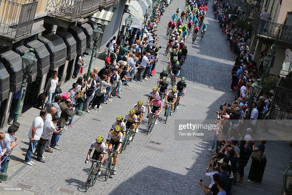 99th Tour of Italy 2016 / Stage 18 Illustration / Peloton / CHIVASSO City / Landscape / Team LOTTO NL - JUMBO (NED)/ Steven KRUIJSWIJK (NED) Pink Leader Jersey / Muggio - Pinerolo (240km)/ Giro /