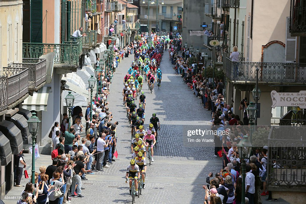 99th Tour of Italy 2016 / Stage 18 Illustration / Peloton / CHIVASSO City / Landscape / Team LOTTO NL - JUMBO (NED)/ Steven KRUIJSWIJK (NED) Pink Leader Jersey / Muggio - Pinerolo (240km)/ Giro /