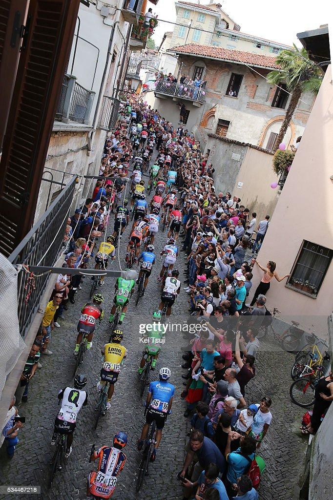 99th Tour of Italy 2016 / Stage 18 Illustration / Public / Fans / Cobles // Peloton / PINEROLO City / Landscape / Muggio - Pinerolo (240km)/ Giro /
