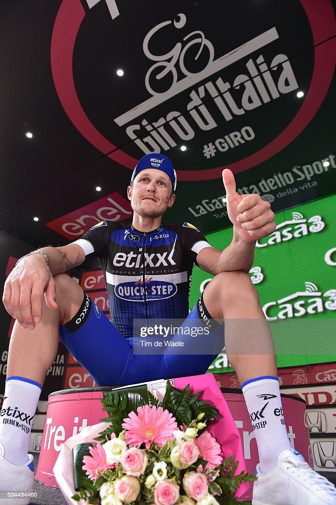 99th Tour of Italy 2016 / Stage 18 Podium / Matteo TRENTIN (ITA) Celebration / Muggio - Pinerolo (240km)/ / Giro /