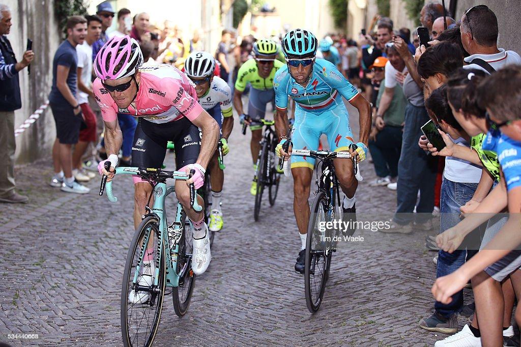 99th Tour of Italy 2016 / Stage 18 Steven KRUIJSWIJK (NED) Pink Leader Jersey / Vincenzo NIBALI (ITA)/ Johan Esteban CHAVES (COL)/ Rafal MAJKA (POL)/ Muggio - Pinerolo (240Km)/ Giro /