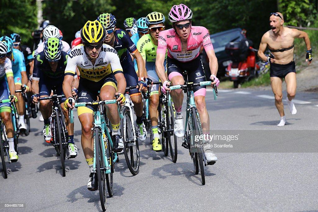 99th Tour of Italy 2016 / Stage 18 Steven KRUIJSWIJK (NED) Pink Leader Jersey / Enrico BATTAGLIN (ITA)/ Alejandro VALVERDE (ESP)/ Muggio - Pinerolo (240km)/ Giro /