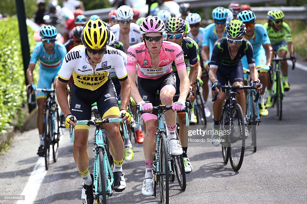 99th Tour of Italy 2016 / Stage 18 Steven KRUIJSWIJK (NED) Pink Leader Jersey / Enrico BATTAGLIN (ITA)/ Muggio - Pinerolo (240km)/ Giro /