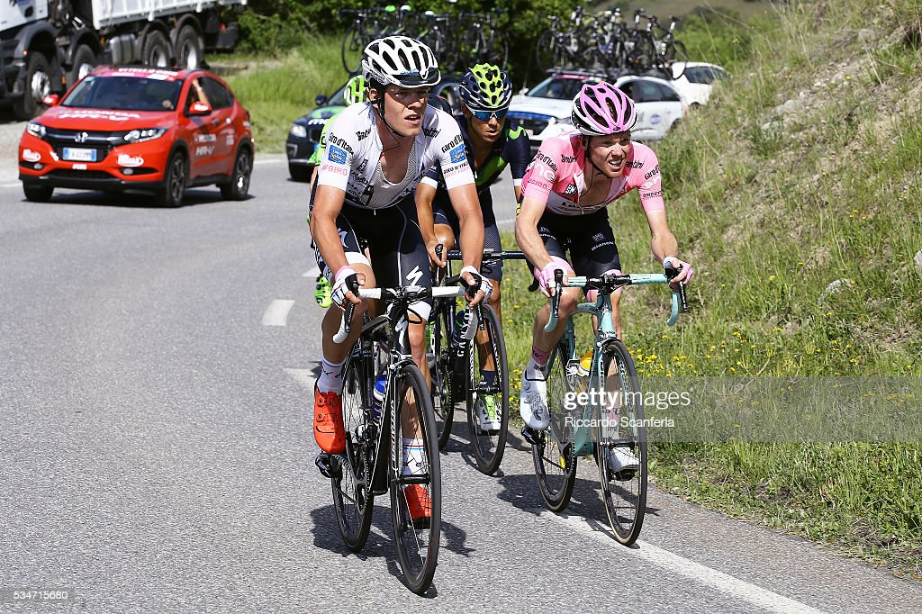 99th Tour of Italy 2016 / Stage 19 Bob JUNGELS (LUX) Best White Young Jersey / Steven KRUIJSWIJK (NED) Pink Leader Jersey / Pinerolo - Risoul 1862m (162km)/ Giro /