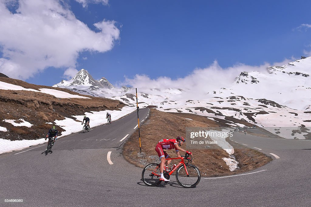 99th Tour of Italy 2016 / Stage 19 Illustration / Landscape / Mountains / Snow / Ilnur ZAKARIN (RUS)/ Colle Dell'Agnello 2744m / Pinerolo - Risoul 1862m (162km)/ Giro /