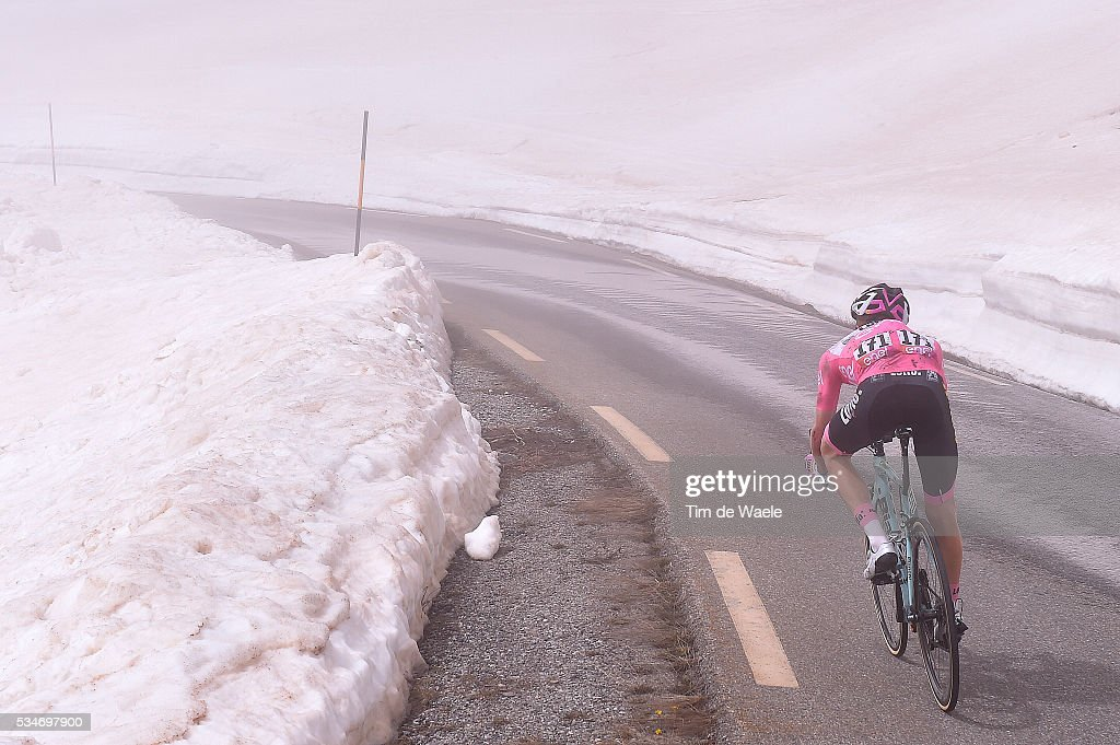 99th Tour of Italy 2016 / Stage 19 Illustration / Landscape / Mountains / Snow / Steven KRUIJSWIJK (NED) Pink Leader Jersey / Colle Dell'Agnello 2744m / Pinerolo - Risoul 1862m (162km)/ Giro /